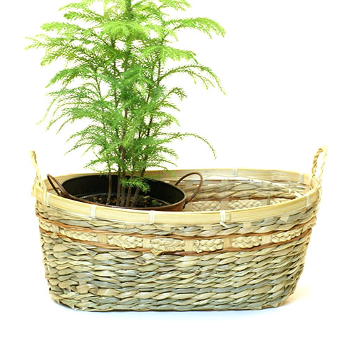 Seagrass and Bamboo Oval Basket Natural