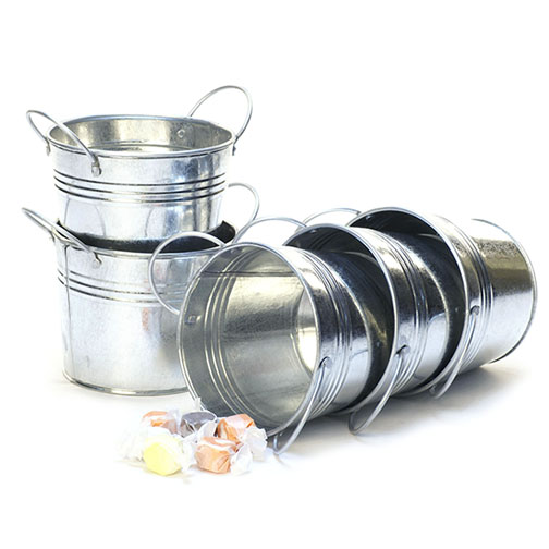 5 inch Miniature Round Pail Galvanized with Side Handles