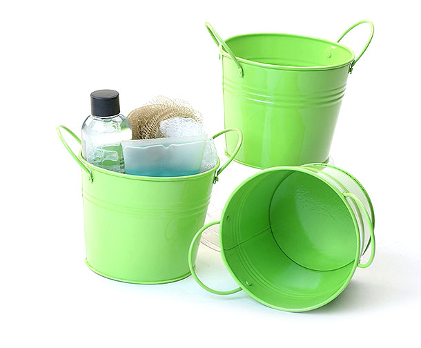 Galvanized Bucket 5 inch with Side Handles Lime Green