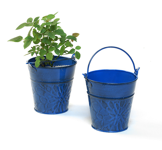Mini Pail 4 inch Antique Blue Pattern