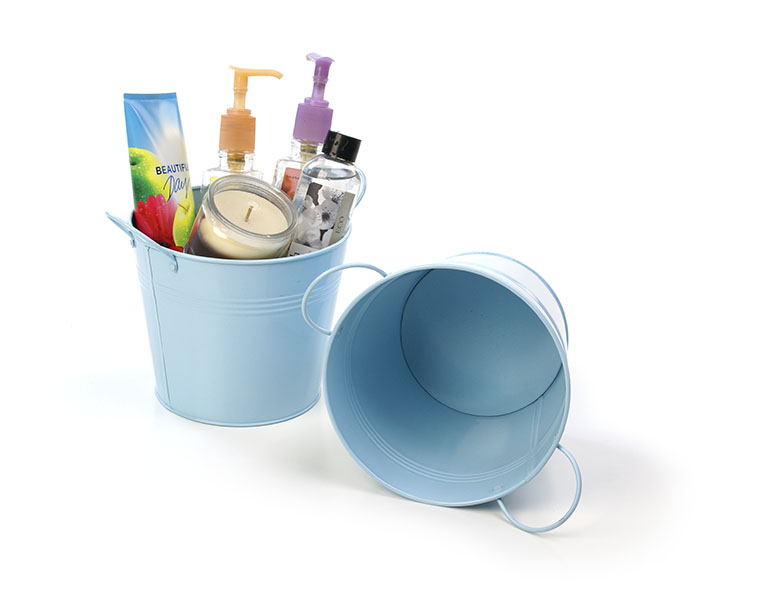 Tin Pot with Side Handles 6.5 inch Light Blue