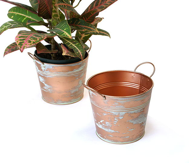 Tin Pot 6.5 inch Verdigris Copper Look