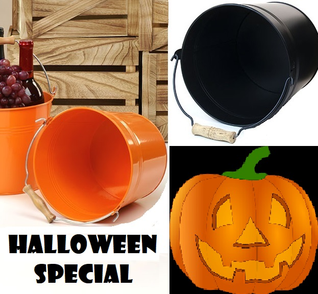 Round Galvanized Pail Wood Handle 8.5 inch Halloween Special - Click Image to Close