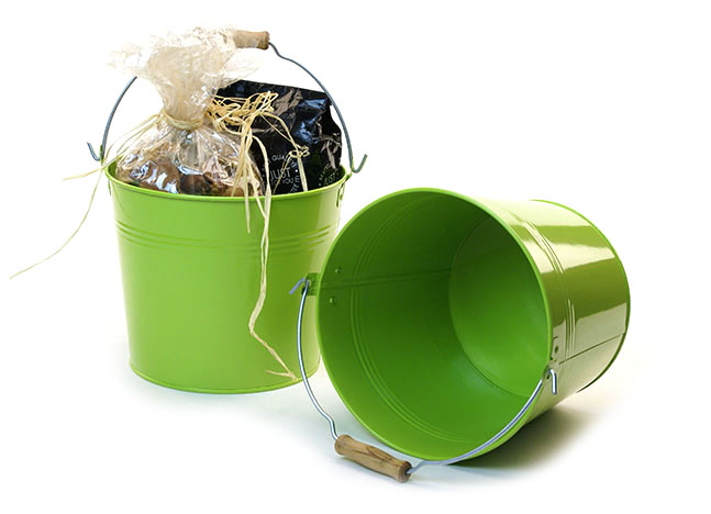 Round Galvanized Pail with Wood Handle 8.5 inch Lime Green
