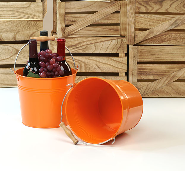 Round Galvanized Pail with Wood Handle 8.5 inch Orange