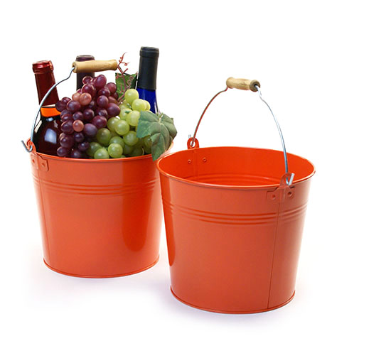 Round Galvanized Pail with Wood Handle 8.5 inch Tangerine