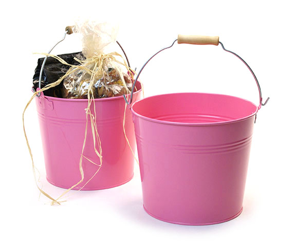Round Galvanized Pail with Wood Handle 8.5 inch Pink