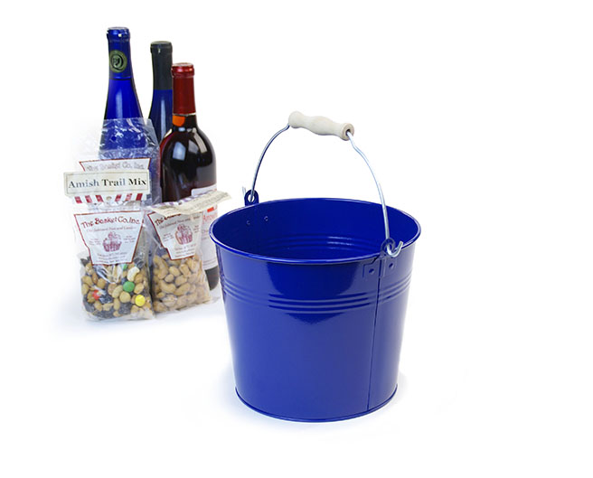 Round Galvanized Pail with Wood Handle 8.5 inch Royal Blue