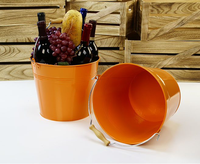 Round Pail Galvanized Wooden Handle 10 inch Orange