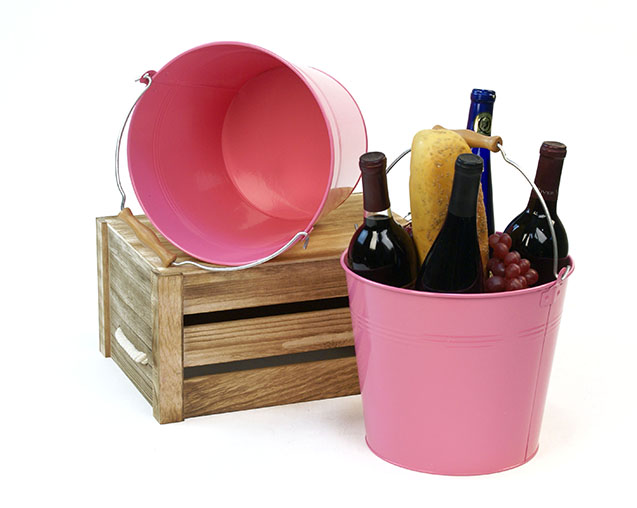 Round Pail Galvanized Wooden Handle 10 inch Pink