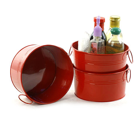 8 inch Galvanized Round Tub Red