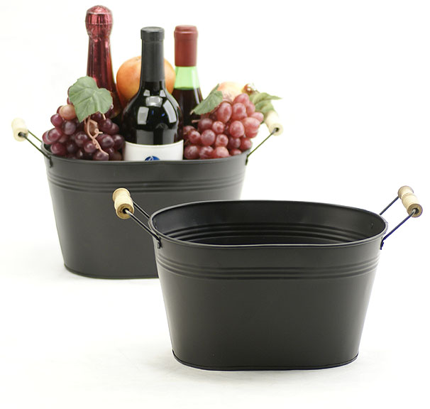 10 inch Oval Tin Tub Black with Wood Handles