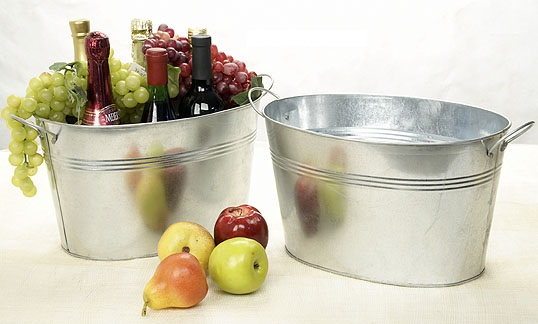 Oval Deep Tub Galvanized with Folding Handle 14 inch