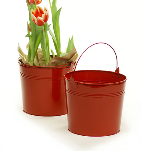Round Pail Galvanized 8.5 inch Red - Click Image to Close