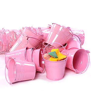 Round Mini Pail Galvanized 2.5 inch Pink - Click Image to Close