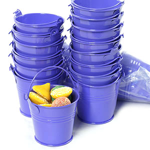 Round Mini Pail Galvanized 2.5 inch Purple