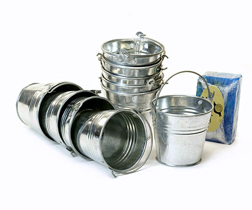 Galvanized buckets pails pots for Galvanized metal buckets small