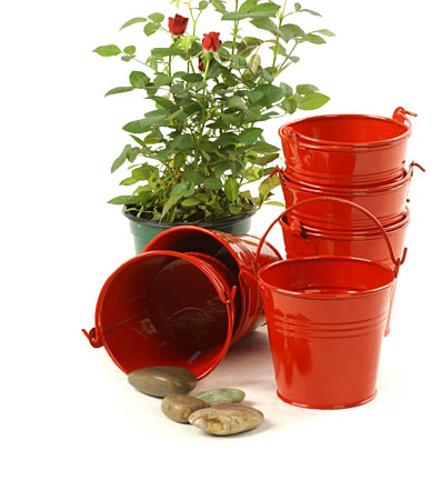 Miniature Round Pail Galvanized Red 4 inch