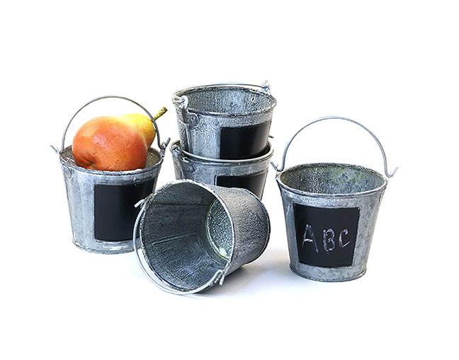 Round Mini Pail Galvanized 4 inch Vintage Finish with Chalkboard
