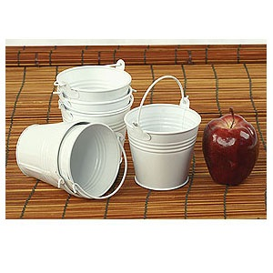 Round Mini Pail Galvanized 4 inch White