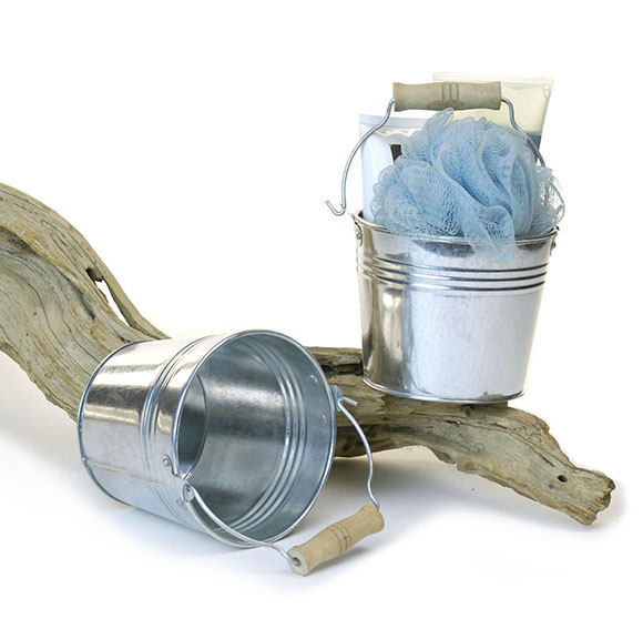 Round Pail Galvanized 5 inch Wood Handle