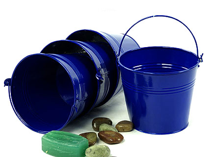 6 inch Round Galvanized Pail Royal Blue