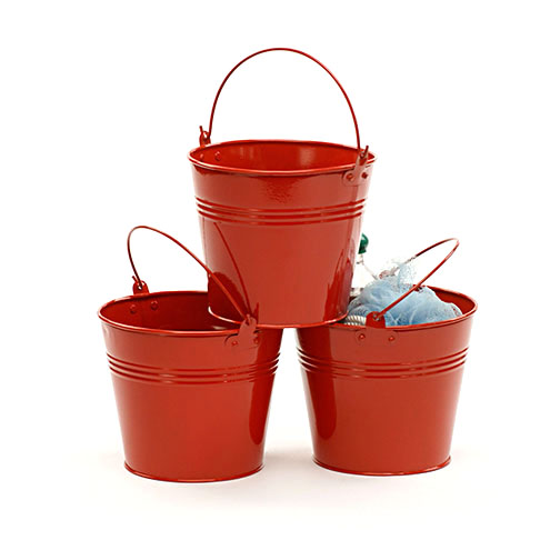 6 inch Round Galvanized Pail Red