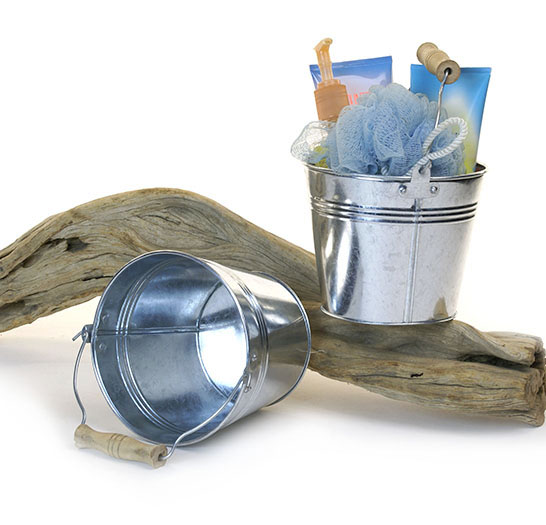 Round Pail Galvanized 6 inch Wood Handle