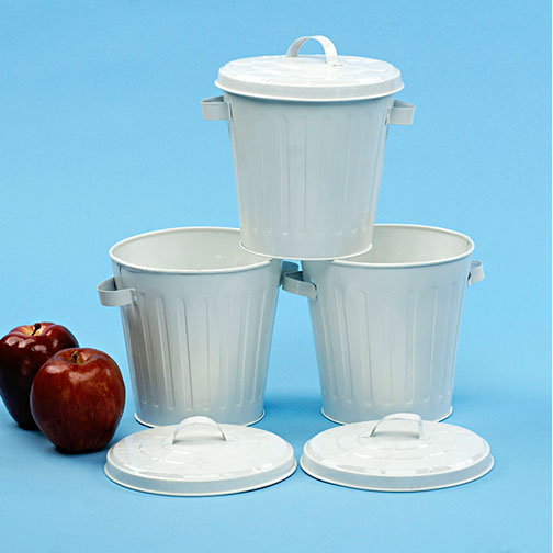 mini garbage can 6 inch white