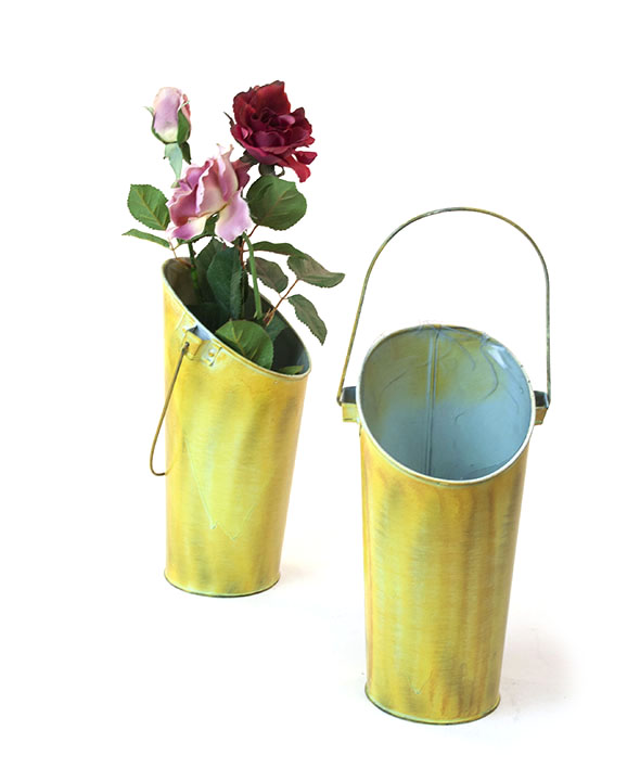 French Bucket Vase Wall Pocket Pail Vintage Green