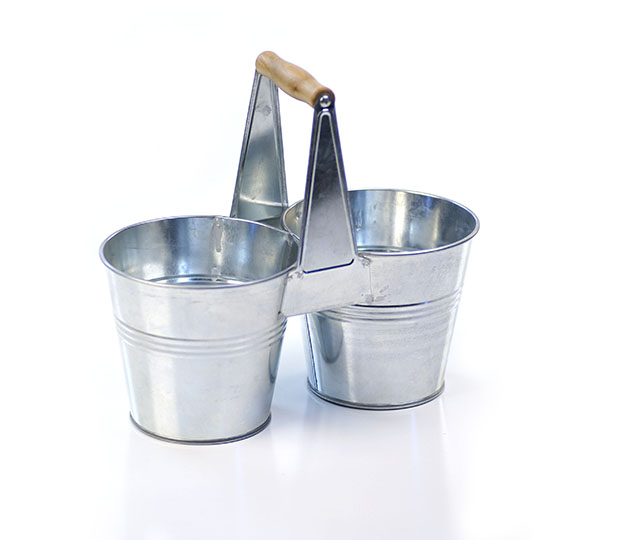 Galvanized Tin Caddy with Wooden Handle - Click Image to Close