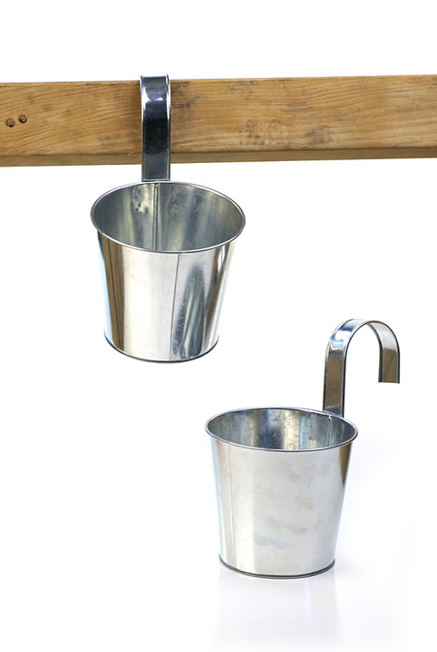 Galvanized Tin Hanging Pot with Detachable Handle