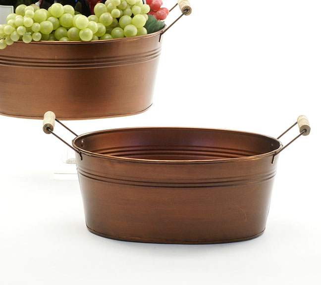 Oval Tub with Copper Look 12 inch