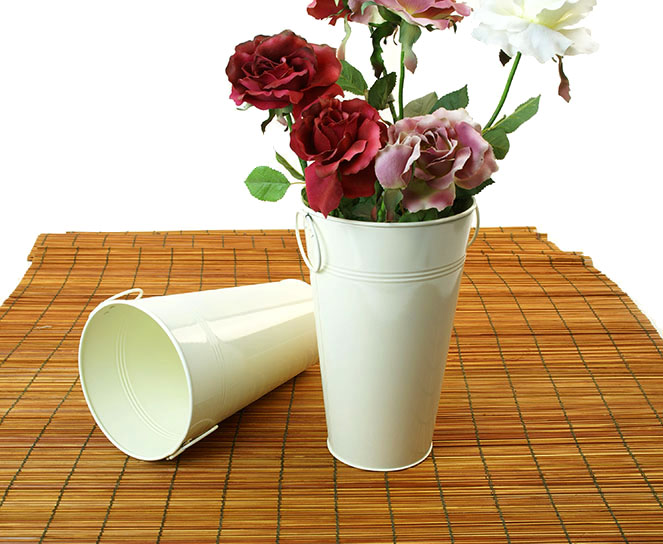 French Bucket Vase 11 inch Tall Cream