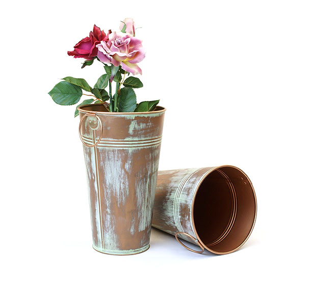 Galvanized Vase French Bucket 11 inch Tall Verdigris Copper