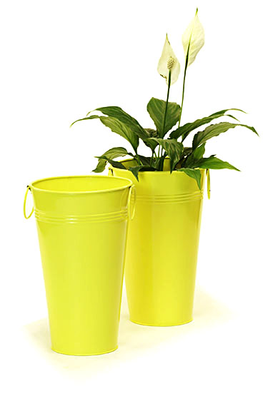 Galvanized Vase French Bucket 11 inch Tall Yellow - Click Image to Close