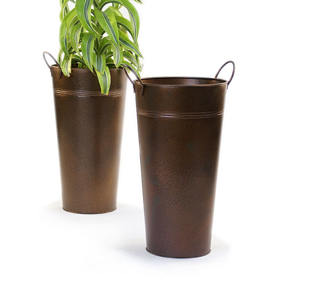French Bucket Vase 15 inch Tall Brown