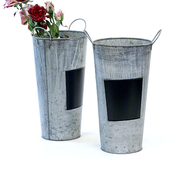 "French Bucket 15"" Tall Vintage Galvanized with Chalk Board"