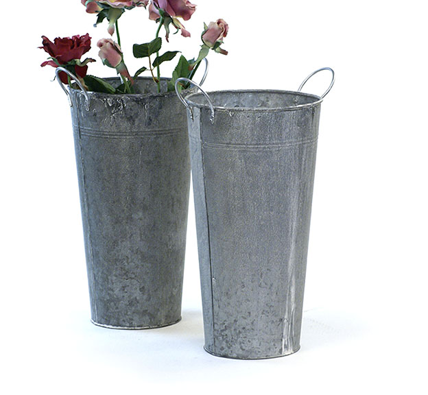 "French Bucket 15"" Tall Vintage Galvanized"