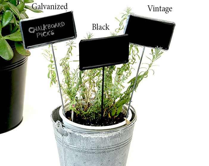 Tin Chalkboard Pick Painted Black 9""