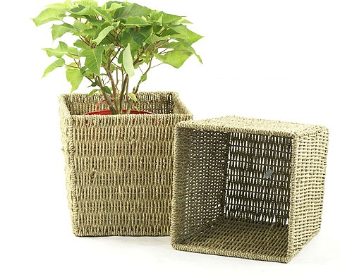 Rope Tall Storage Basket 10 inch Square