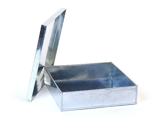 Heavy Gauge Galvanized Square Tray with Lid 8 inch