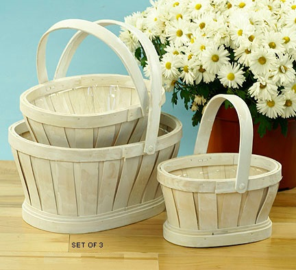 Woodchip Oval Shop Basket White Wash with Raised Bottom Set of 3