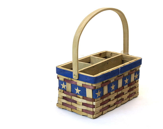Woodchip Rectangle Shop Basket with Folding Handle