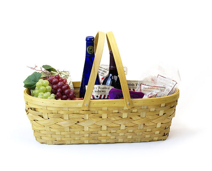 Bamboo and Woodchip Oval Basket with Double Folding Handles
