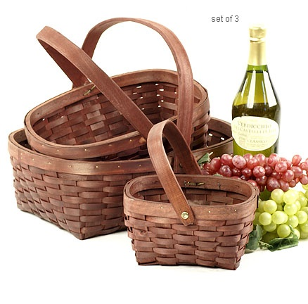 Burgundy Woodchip Oval Shop Basket with Folding Handle Set of 3
