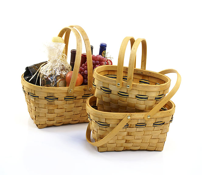Woodchip Oval Shop Basket with Double Folding Handles Set of 3