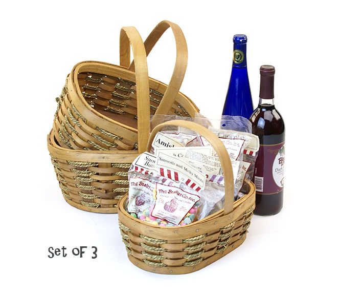 Woodchip and Rope Oval Shop Basket with Folding Handle Set of 3
