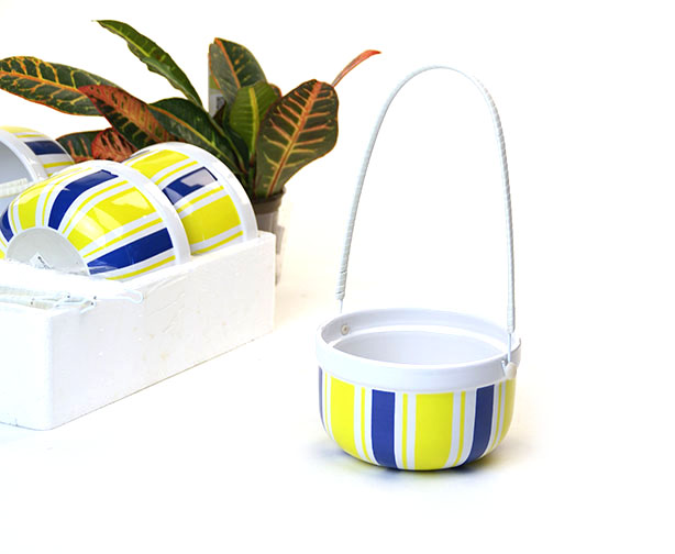 Ceramic Round Shop Basket Yel-Wht-Blu Stripe