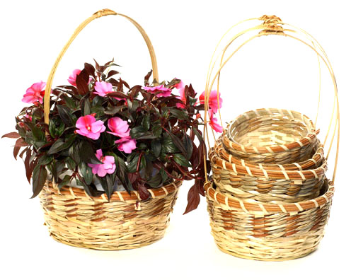 Bamboo and Palm Round Shop Basket Set of 5